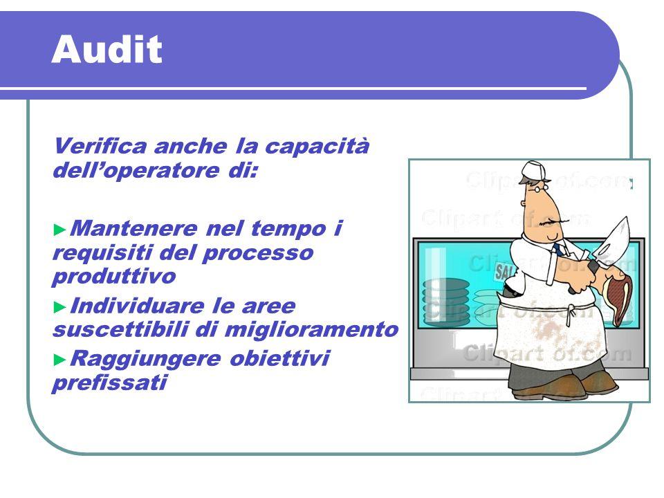 Audit Verifica anche la capacità delloperatore di: Mantenere nel tempo i requisiti del processo produttivo Individuare le aree suscettibili di miglior