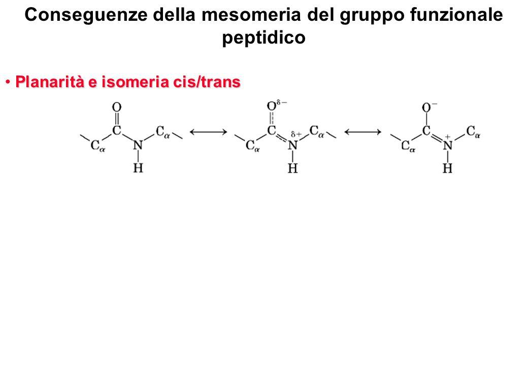Planarità e isomeria cis/trans Angoli diedri di torsione intorno ai legami e Angoli diedri di torsione intorno ai legami e Conseguenze della mesomeria