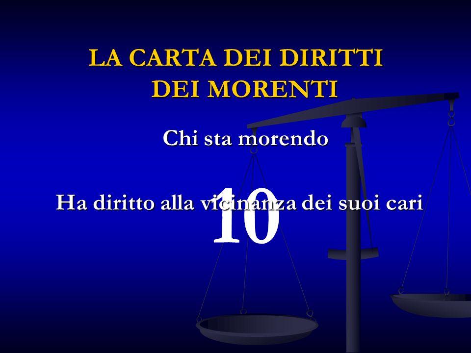10 Ha diritto alla vicinanza dei suoi cari LA CARTA DEI DIRITTI DEI MORENTI Chi sta morendo