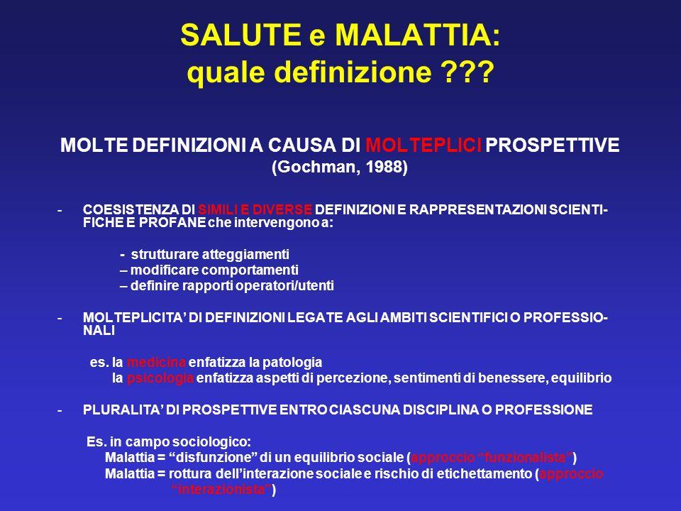 SALUTE e MALATTIA: quale definizione ??? MOLTE DEFINIZIONI A CAUSA DI MOLTEPLICI PROSPETTIVE (Gochman, 1988) -COESISTENZA DI SIMILI E DIVERSE DEFINIZI