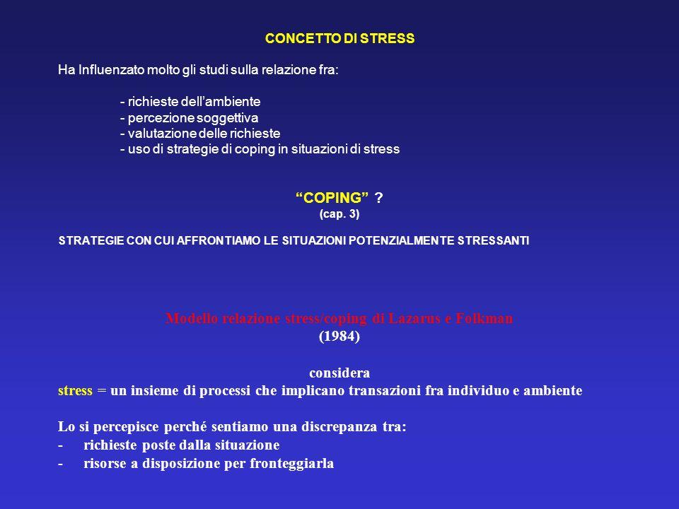 CONCETTO DI STRESS Ha Influenzato molto gli studi sulla relazione fra: - richieste dellambiente - percezione soggettiva - valutazione delle richieste