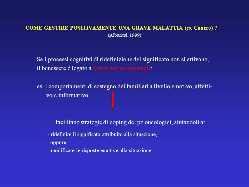 COME GESTIRE POSITIVAMENTE UNA GRAVE MALATTIA (es. Cancro) ? (Albanesi, 1999) Se i processi cognitivi di ridefinizione del significato non si attivano