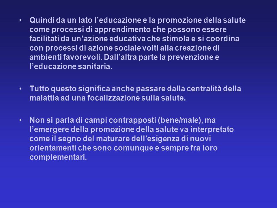 Quindi da un lato leducazione e la promozione della salute come processi di apprendimento che possono essere facilitati da unazione educativa che stim