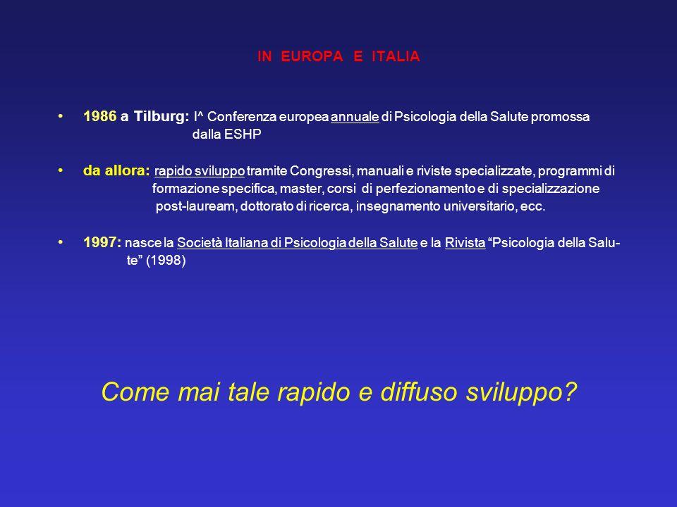 IN EUROPA E ITALIA 1986 a Tilburg: I^ Conferenza europea annuale di Psicologia della Salute promossa dalla ESHP da allora: rapido sviluppo tramite Con