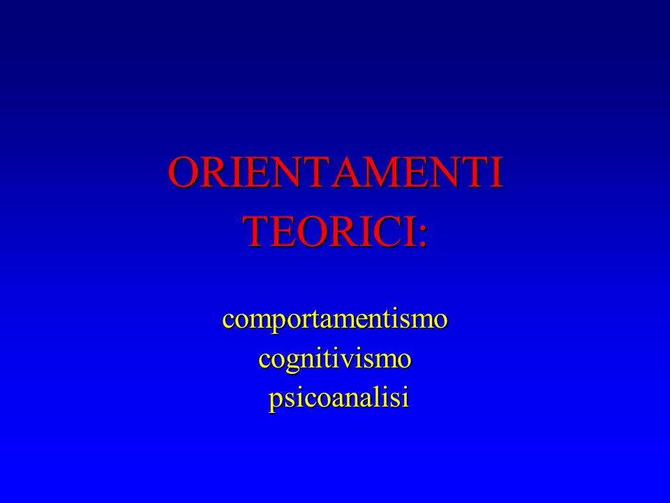 ORIENTAMENTITEORICI:comportamentismocognitivismo psicoanalisi psicoanalisi