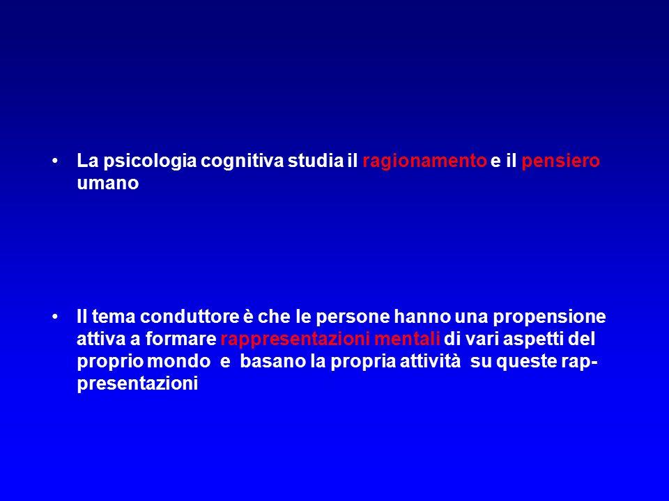 La psicologia cognitiva studia il ragionamento e il pensiero umano Il tema conduttore è che le persone hanno una propensione attiva a formare rappresentazioni mentali di vari aspetti del proprio mondo e basano la propria attività su queste rap- presentazioni