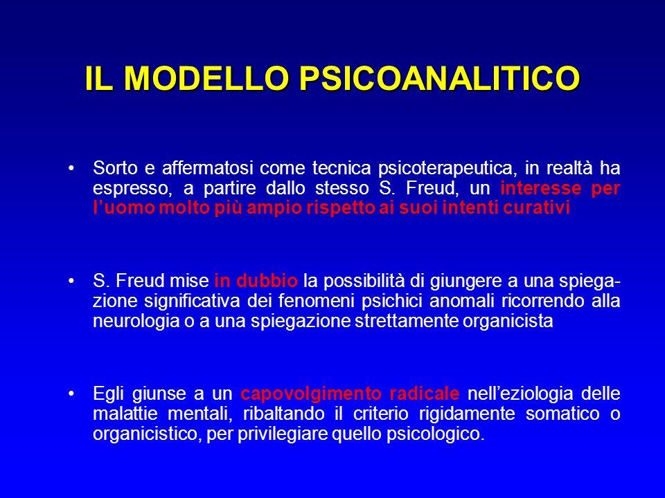 IL MODELLO PSICOANALITICO Sorto e affermatosi come tecnica psicoterapeutica, in realtà ha espresso, a partire dallo stesso S.