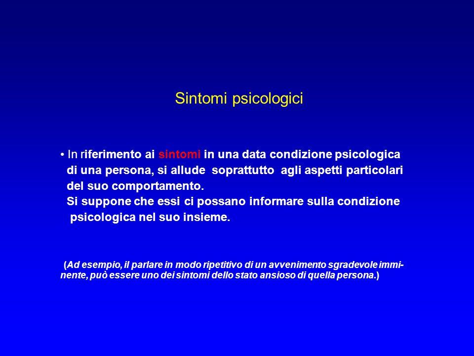 Sintomi psicologici In riferimento ai sintomi in una data condizione psicologica di una persona, si allude soprattutto agli aspetti particolari del suo comportamento.