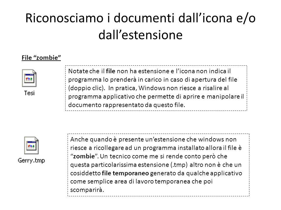 Riconosciamo i documenti dallicona e/o dallestensione File zombie Notate che il file non ha estensione e licona non indica il programma lo prenderà in carico in caso di apertura del file (doppio clic).