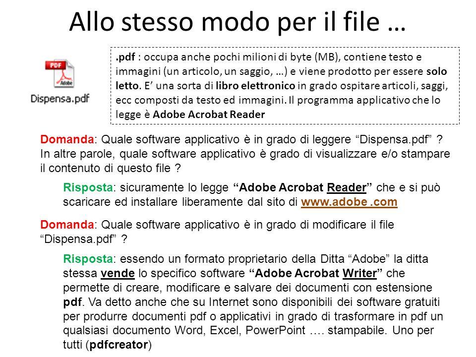 Allo stesso modo per il file ….pdf : occupa anche pochi milioni di byte (MB), contiene testo e immagini (un articolo, un saggio, …) e viene prodotto per essere solo letto.