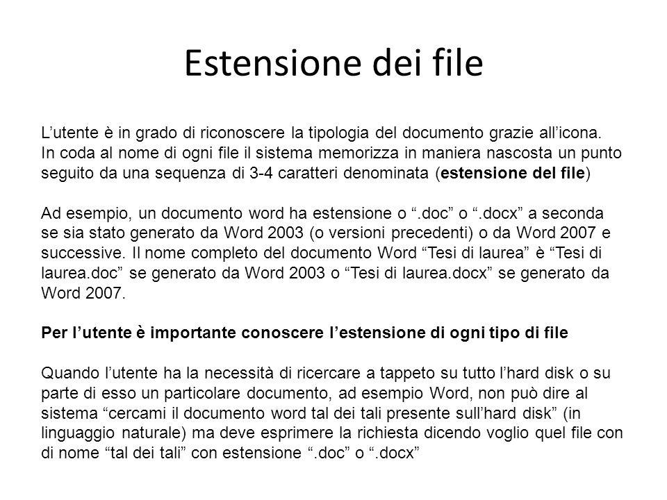 Estensione dei file Lutente è in grado di riconoscere la tipologia del documento grazie allicona.