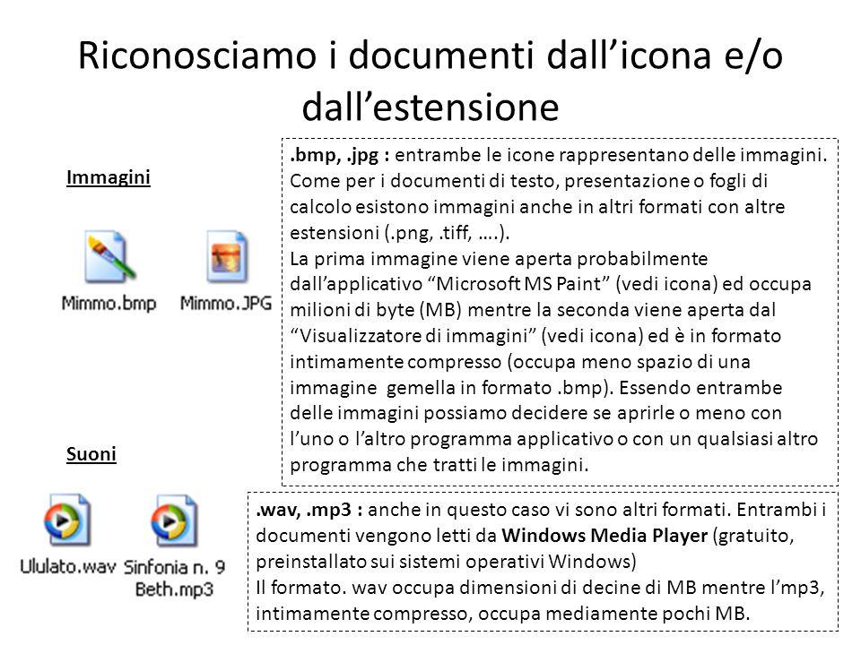Riconosciamo i documenti dallicona e/o dallestensione Immagini.bmp,.jpg : entrambe le icone rappresentano delle immagini.