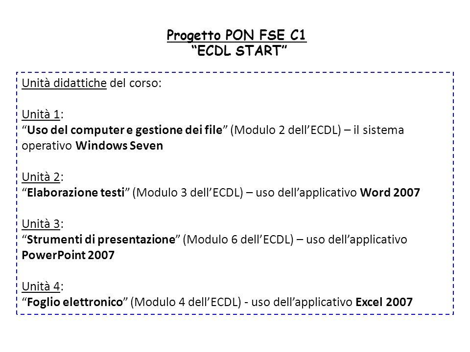 Progetto PON FSE C1 ECDL START Unità didattiche del corso: Unità 1: Uso del computer e gestione dei file (Modulo 2 dellECDL) – il sistema operativo Wi