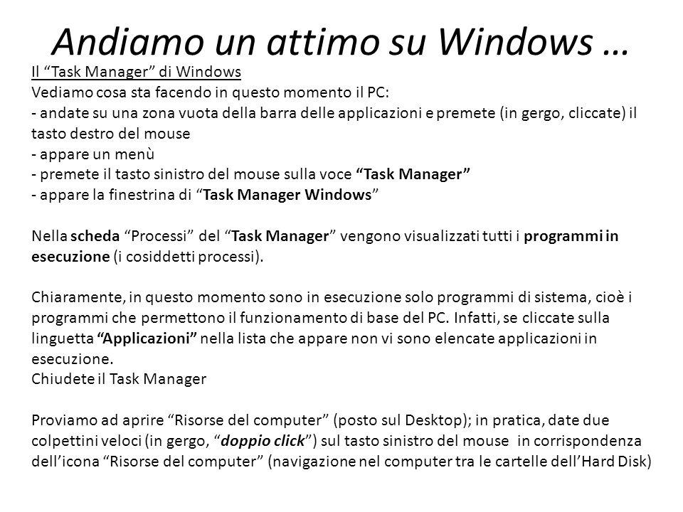 Andiamo un attimo su Windows … Il Task Manager di Windows Vediamo cosa sta facendo in questo momento il PC: - andate su una zona vuota della barra del