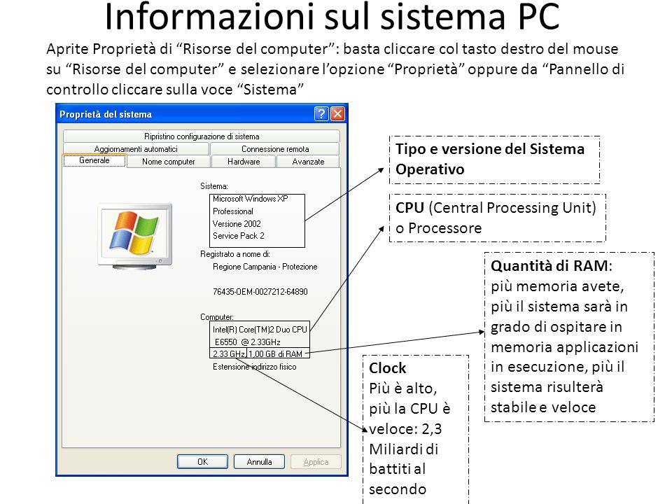 Aprite Proprietà di Risorse del computer: basta cliccare col tasto destro del mouse su Risorse del computer e selezionare lopzione Proprietà oppure da