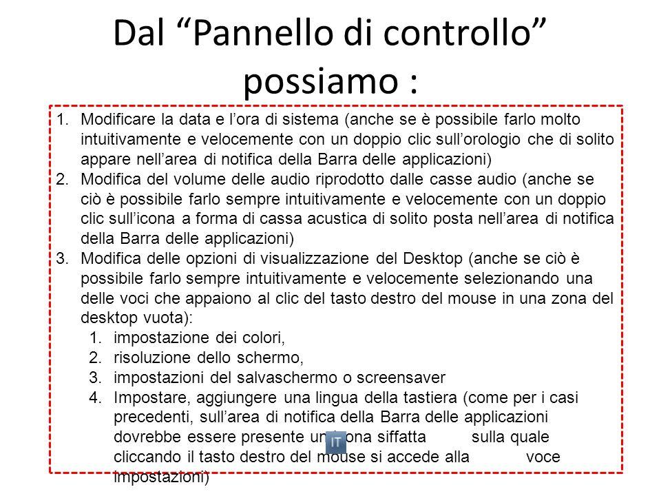 Dal Pannello di controllo possiamo : 1.Modificare la data e lora di sistema (anche se è possibile farlo molto intuitivamente e velocemente con un dopp