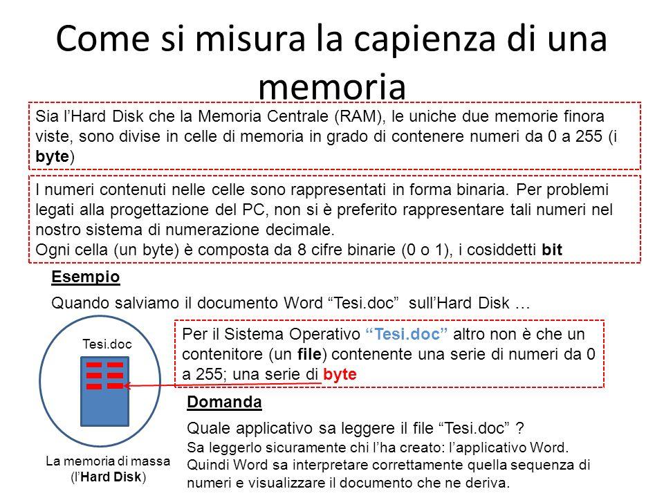 Come si misura la capienza di una memoria Sia lHard Disk che la Memoria Centrale (RAM), le uniche due memorie finora viste, sono divise in celle di me