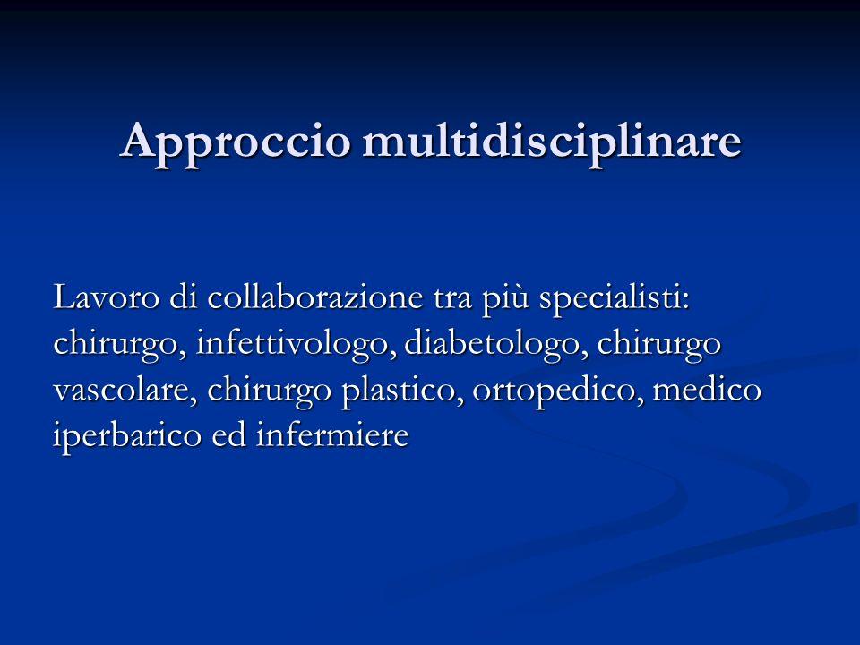 Approccio multidisciplinare Lavoro di collaborazione tra più specialisti: chirurgo, infettivologo, diabetologo, chirurgo vascolare, chirurgo plastico,