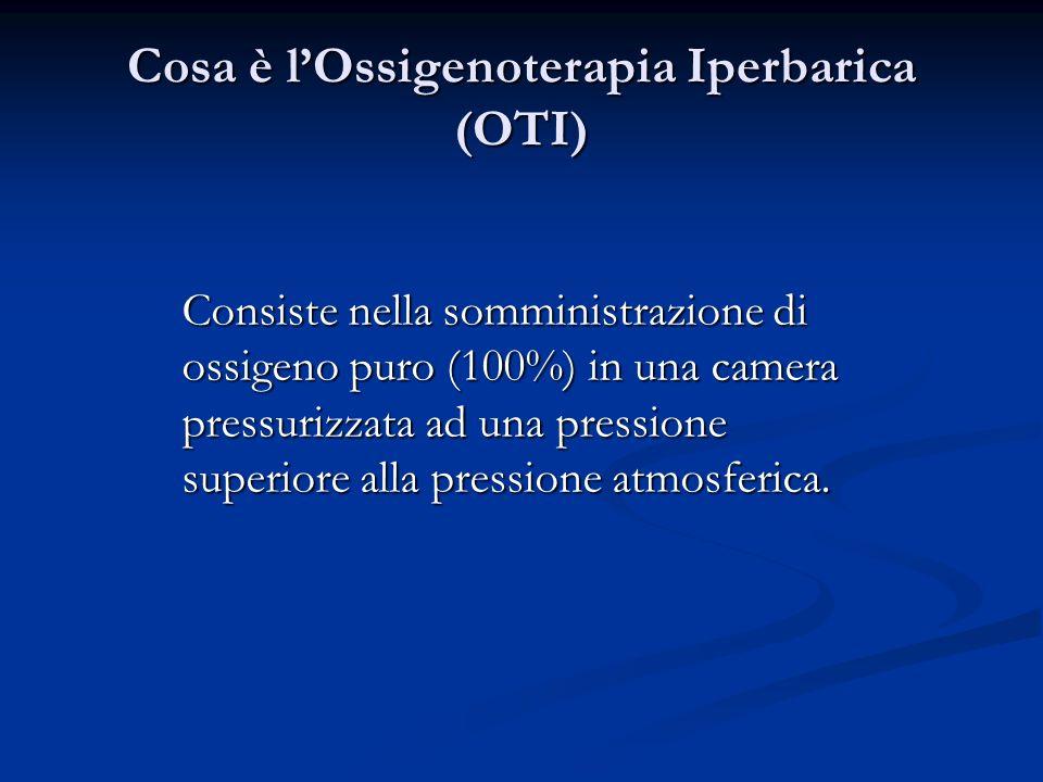 Cosa è lOssigenoterapia Iperbarica (OTI) Consiste nella somministrazione di ossigeno puro (100%) in una camera pressurizzata ad una pressione superior