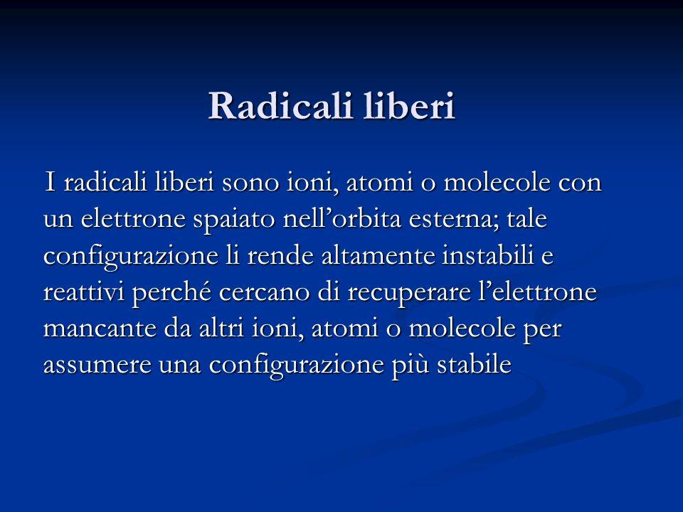 Radicali liberi I radicali liberi sono ioni, atomi o molecole con un elettrone spaiato nellorbita esterna; tale configurazione li rende altamente inst