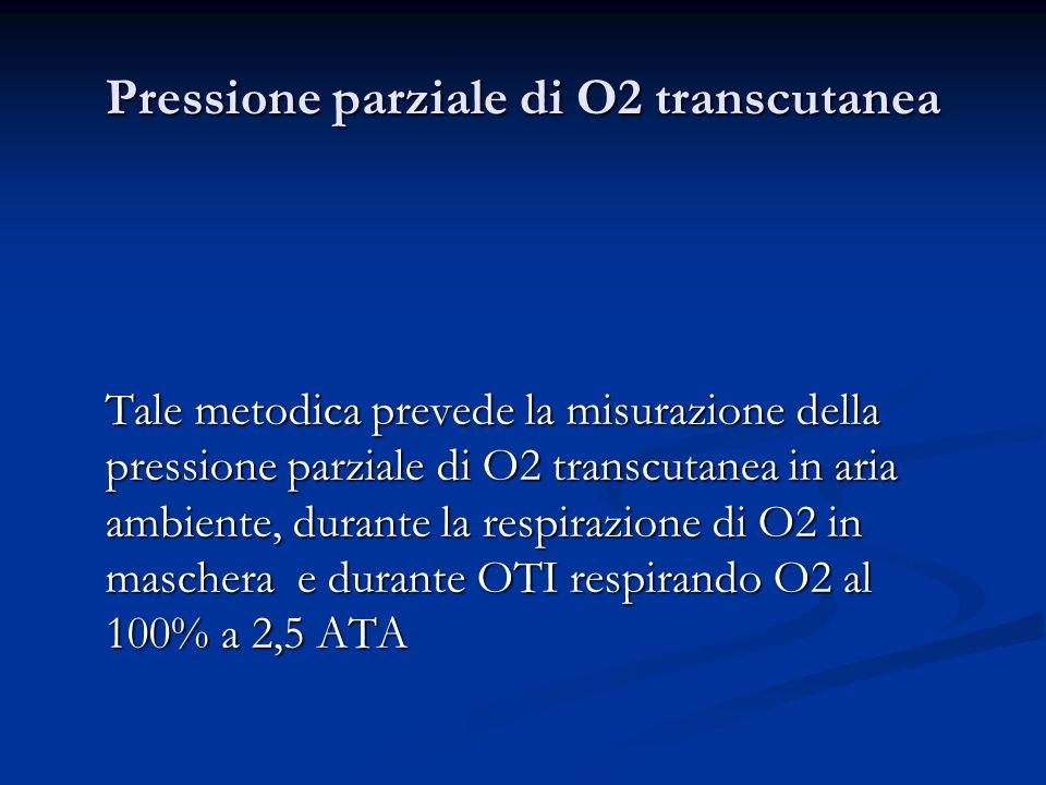 Pressione parziale di O2 transcutanea Tale metodica prevede la misurazione della pressione parziale di O2 transcutanea in aria ambiente, durante la re