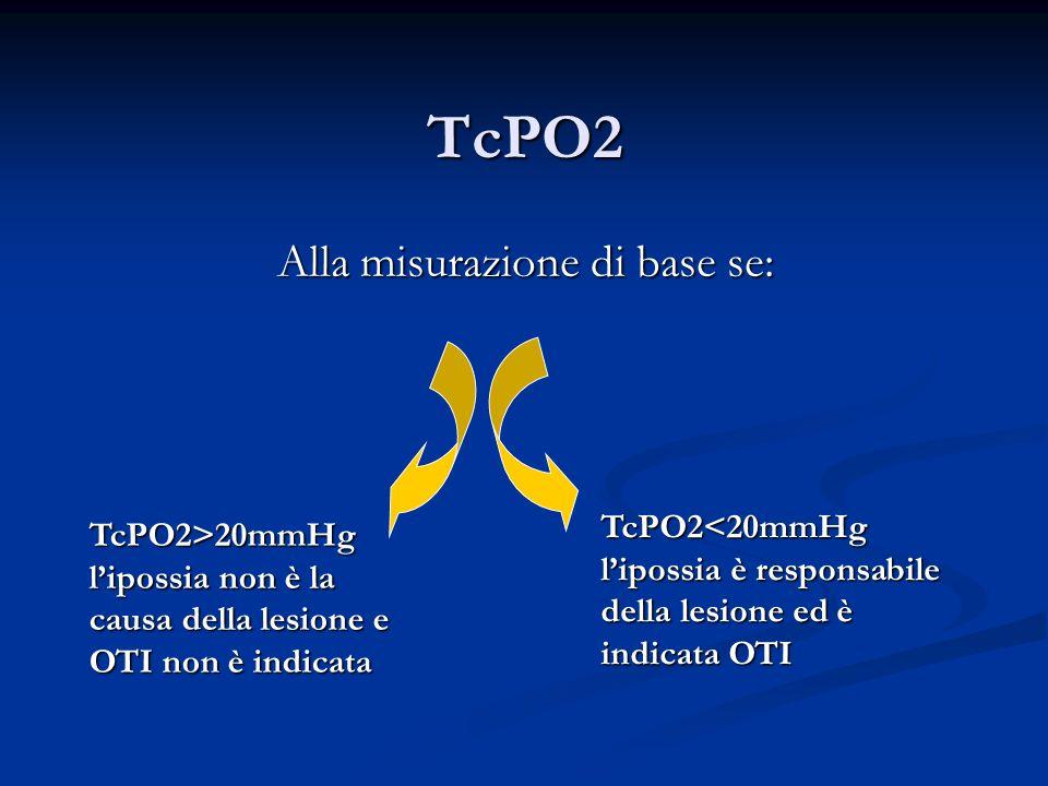 TcPO2 Alla misurazione di base se: TcPO2>20mmHg lipossia non è la causa della lesione e OTI non è indicata TcPO2<20mmHg lipossia è responsabile della