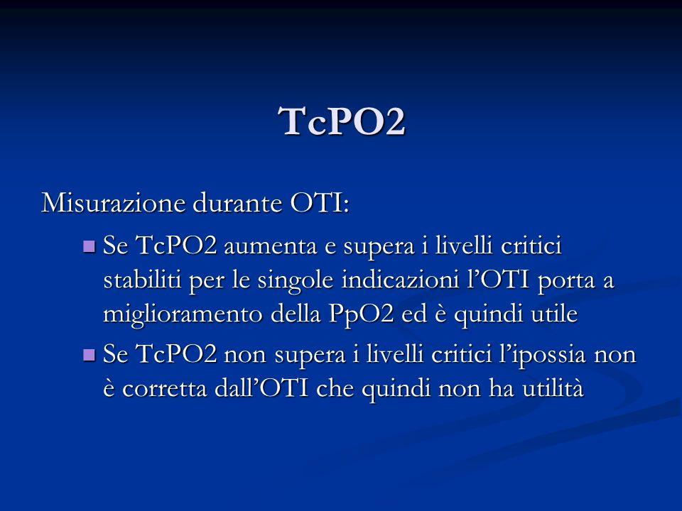 TcPO2 Misurazione durante OTI: Se TcPO2 aumenta e supera i livelli critici stabiliti per le singole indicazioni lOTI porta a miglioramento della PpO2