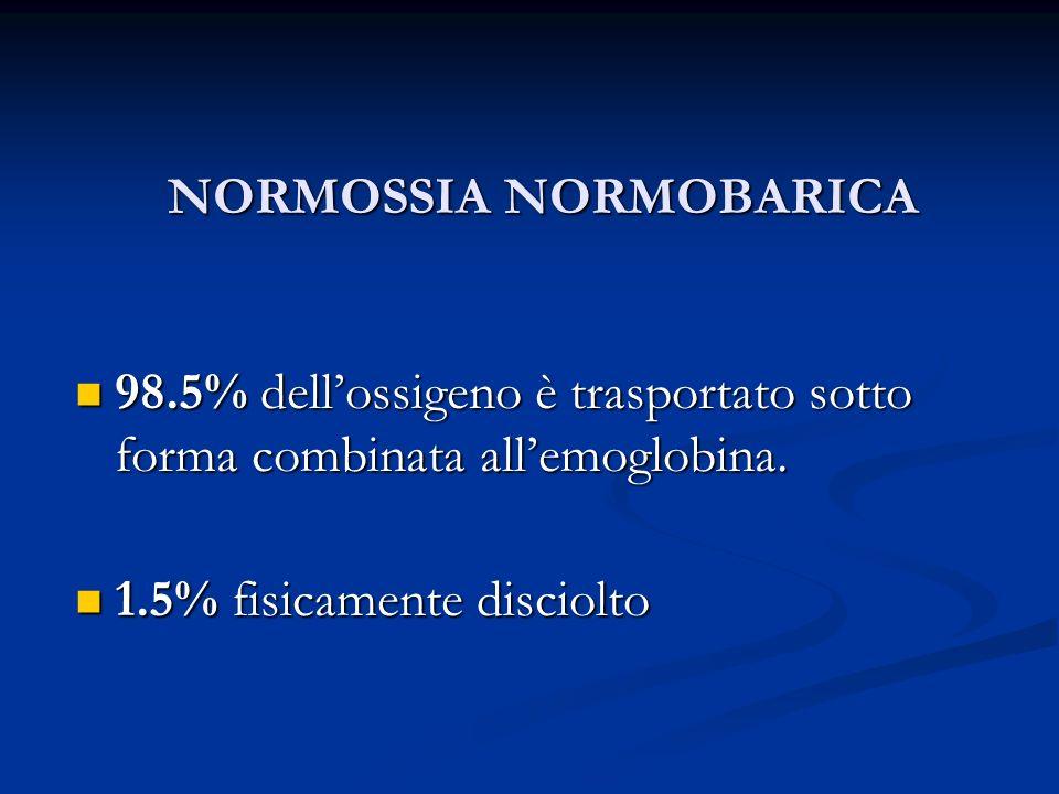 NORMOSSIA NORMOBARICA 98.5% dellossigeno è trasportato sotto forma combinata allemoglobina. 98.5% dellossigeno è trasportato sotto forma combinata all