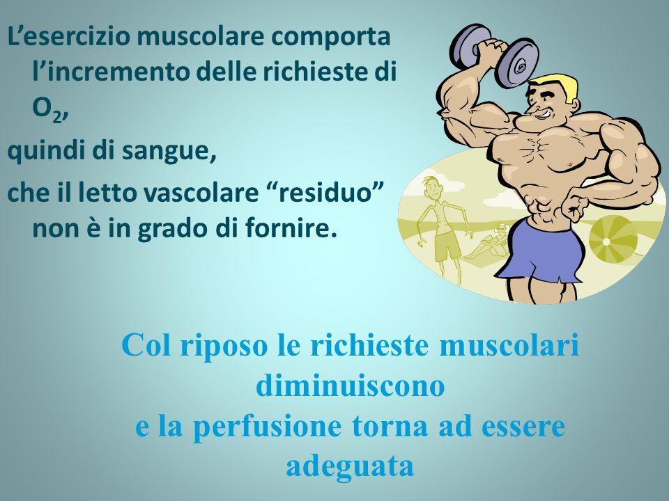 Lesercizio muscolare comporta lincremento delle richieste di O 2, quindi di sangue, che il letto vascolare residuo non è in grado di fornire.