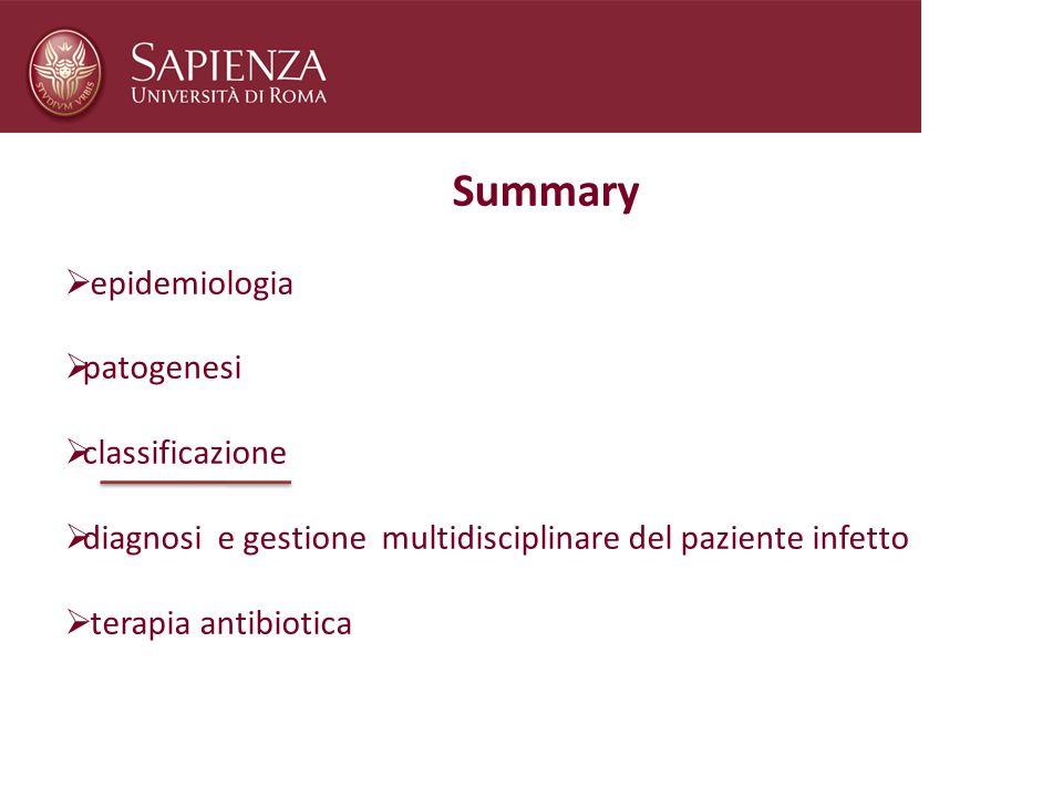 Summary epidemiologia patogenesi classificazione diagnosi e gestione multidisciplinare del paziente infetto terapia antibiotica