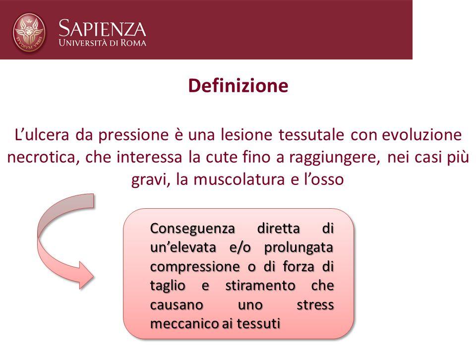 Definizione Lulcera da pressione è una lesione tessutale con evoluzione necrotica, che interessa la cute fino a raggiungere, nei casi più gravi, la mu