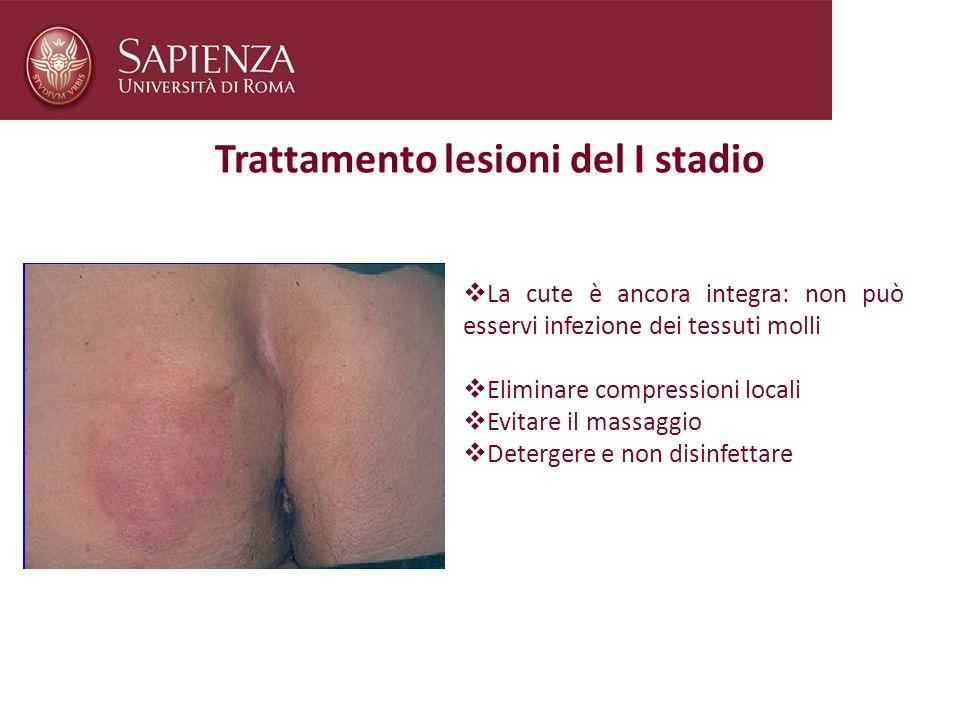 Trattamento lesioni del I stadio La cute è ancora integra: non può esservi infezione dei tessuti molli Eliminare compressioni locali Evitare il massag