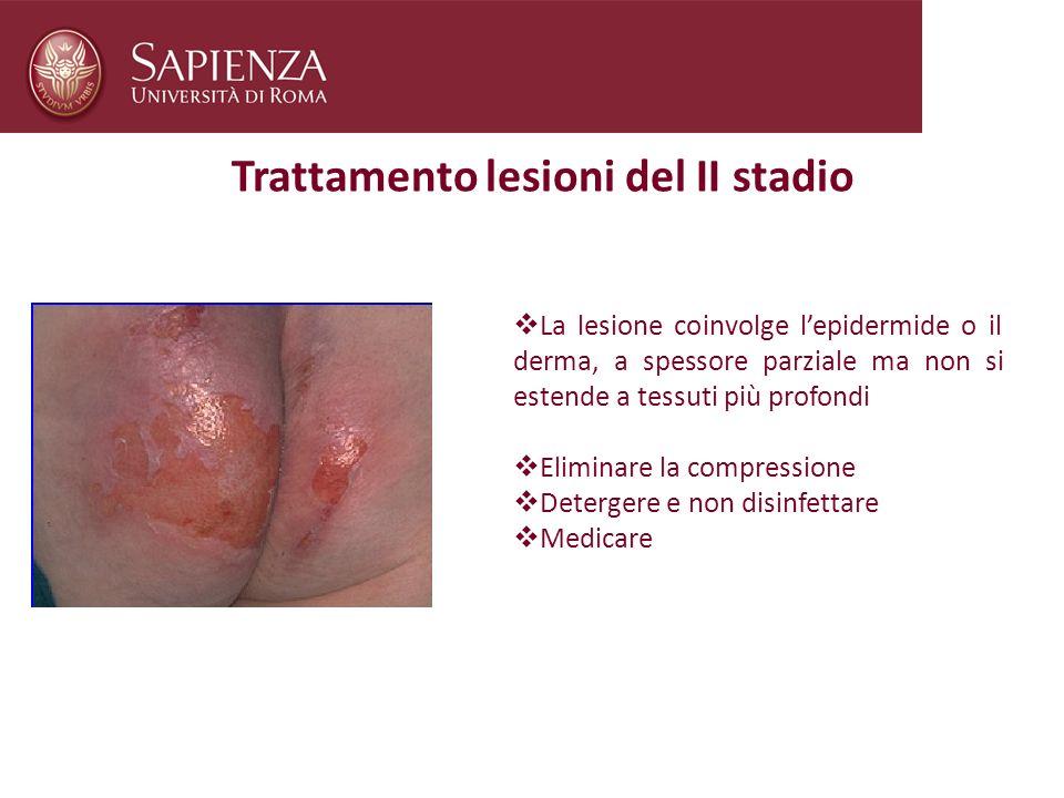 Trattamento lesioni del II stadio La lesione coinvolge lepidermide o il derma, a spessore parziale ma non si estende a tessuti più profondi Eliminare