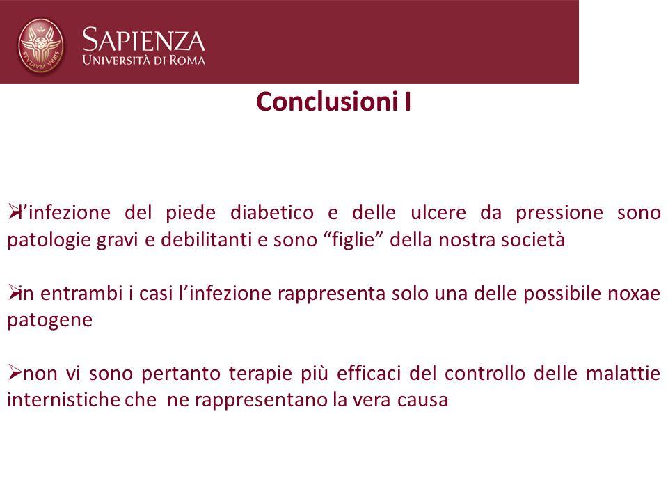 Conclusioni I linfezione del piede diabetico e delle ulcere da pressione sono patologie gravi e debilitanti e sono figlie della nostra società in entr