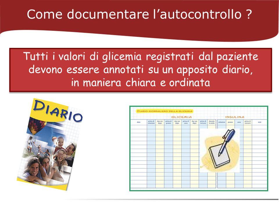 Come documentare lautocontrollo ? Tutti i valori di glicemia registrati dal paziente devono essere annotati su un apposito diario, in maniera chiara e