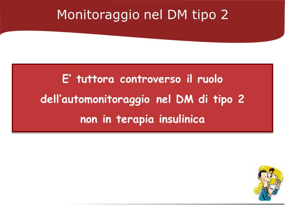 E tuttora controverso il ruolo dellautomonitoraggio nel DM di tipo 2 non in terapia insulinica Monitoraggio nel DM tipo 2