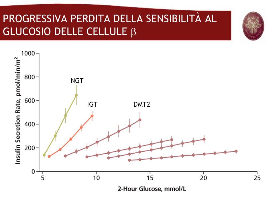 NGT IGTDMT2 PROGRESSIVA PERDITA DELLA SENSIBILITÀ AL GLUCOSIO DELLE CELLULE
