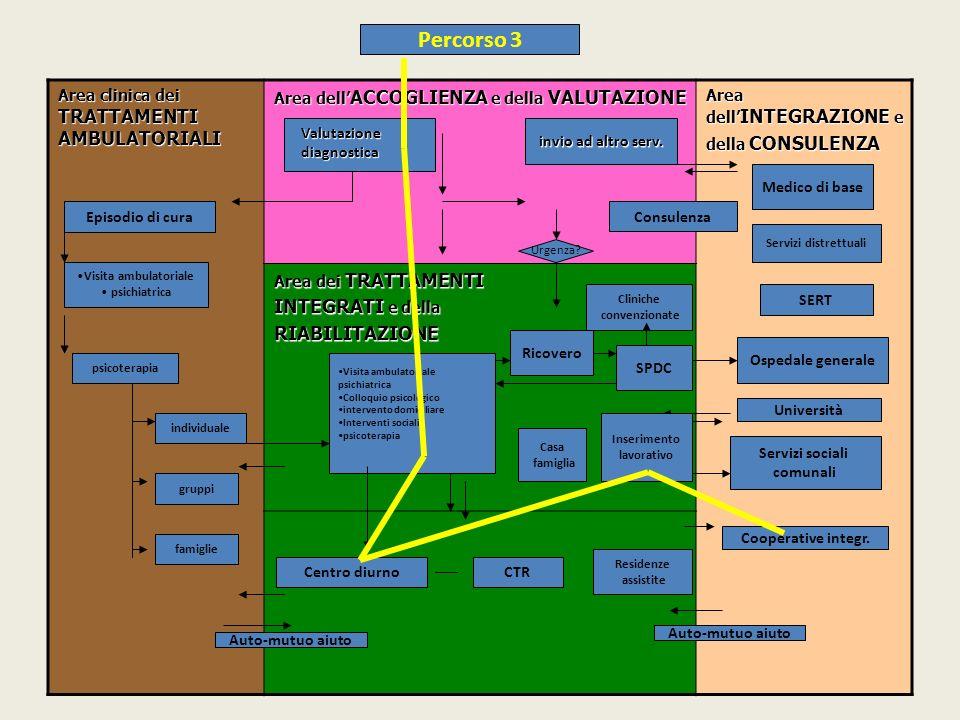 Area clinica dei TRATTAMENTI AMBULATORIALI Area dell ACCOGLIENZA e della VALUTAZIONE Area dell INTEGRAZIONE e della CONSULENZA Area dei TRATTAMENTI INTEGRATI e della RIABILITAZIONE Ricovero Ospedale generale Servizi sociali comunali Visita ambulatoriale psichiatrica Colloquio psicologico intervento domiciliare Interventi sociali psicoterapia SPDC Episodio di cura Visita ambulatoriale psichiatrica psicoterapia individuale gruppi famiglie Centro diurnoCTR Cooperative integr.