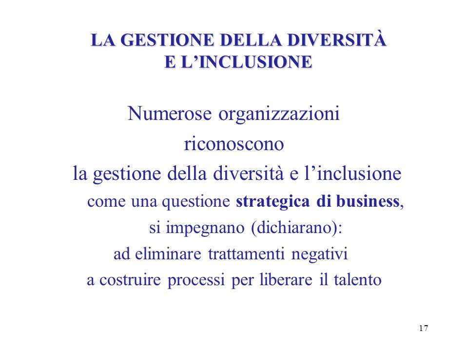 17 LA GESTIONE DELLA DIVERSITÀ E LINCLUSIONE Numerose organizzazioni riconoscono la gestione della diversità e linclusione come una questione strategi