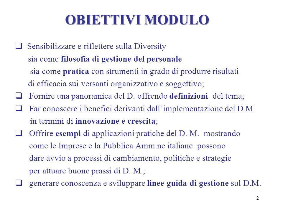 OBIETTIVI MODULO Sensibilizzare e riflettere sulla Diversity sia come filosofia di gestione del personale sia come pratica con strumenti in grado di p
