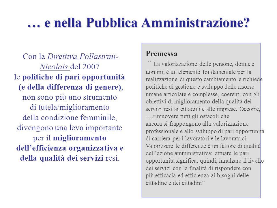 … e nella Pubblica Amministrazione? … e nella Pubblica Amministrazione? Con la Direttiva Pollastrini- Nicolais del 2007 le politiche di pari opportuni