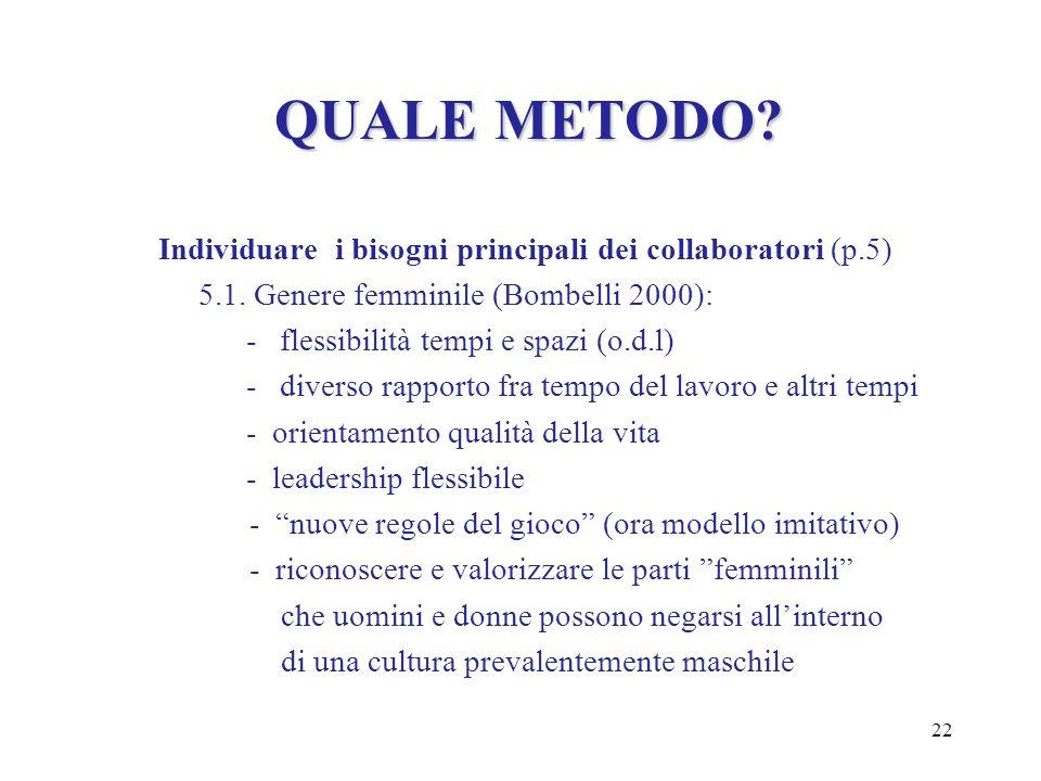 22 QUALE METODO? Individuare i bisogni principali dei collaboratori (p.5) 5.1. Genere femminile (Bombelli 2000): - flessibilità tempi e spazi (o.d.l)
