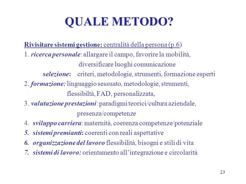 23 QUALE METODO? Rivisitare sistemi gestione: centralità della persona (p.6) 1. ricerca personale: allargare il campo, favorire la mobilità, diversifi