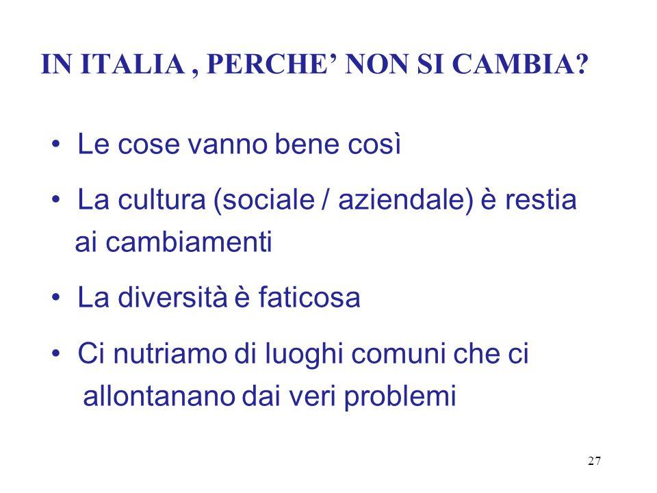 IN ITALIA, PERCHE NON SI CAMBIA? Le cose vanno bene così La cultura (sociale / aziendale) è restia ai cambiamenti La diversità è faticosa Ci nutriamo