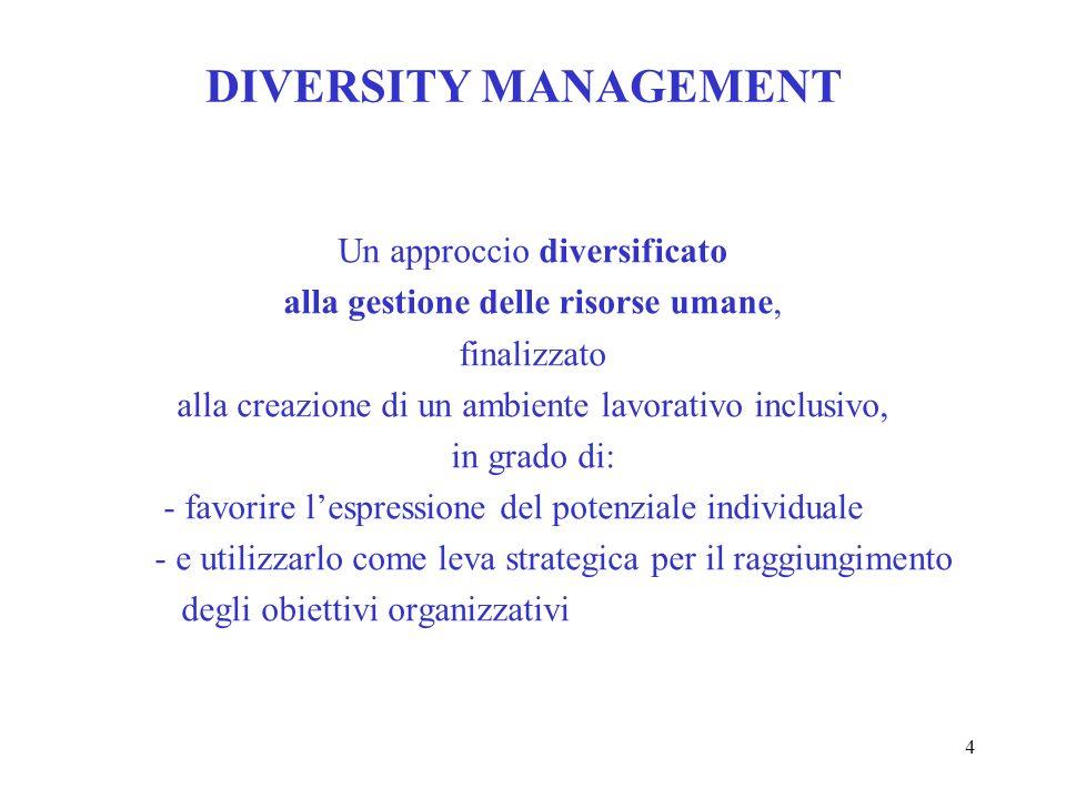 4 DIVERSITY MANAGEMENT Un approccio diversificato alla gestione delle risorse umane, finalizzato alla creazione di un ambiente lavorativo inclusivo, i