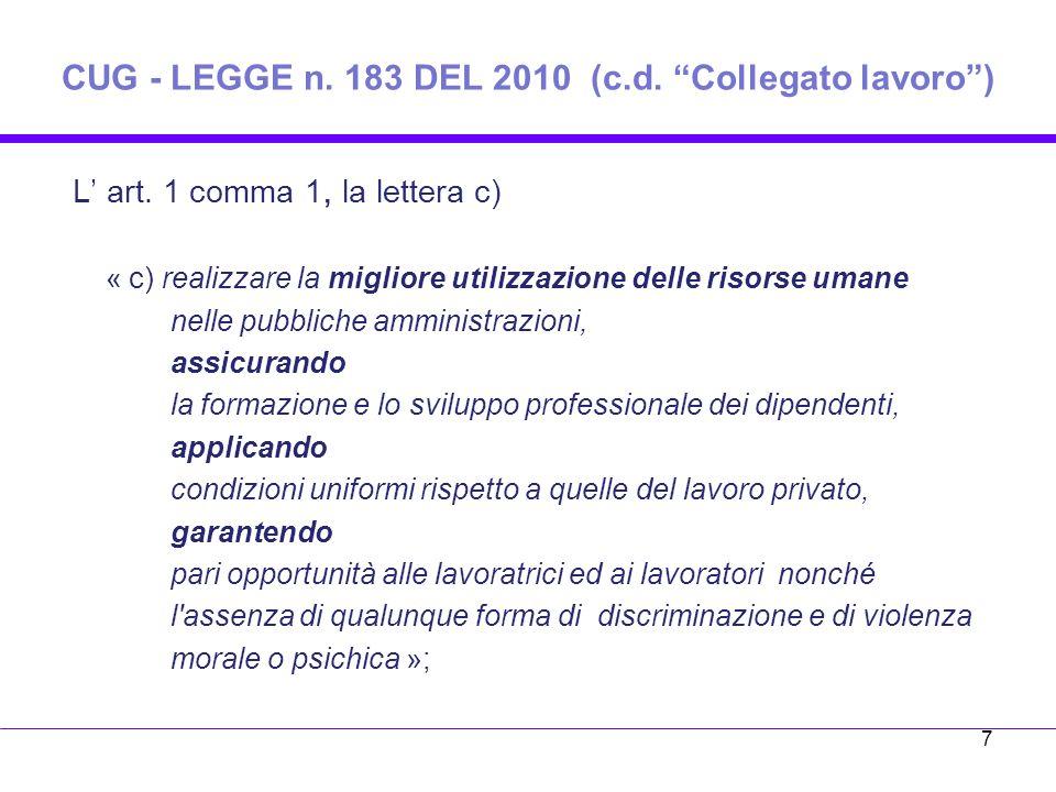 CUG - LEGGE n.183 DEL 2010 (c.d. Collegato lavoro) L art.