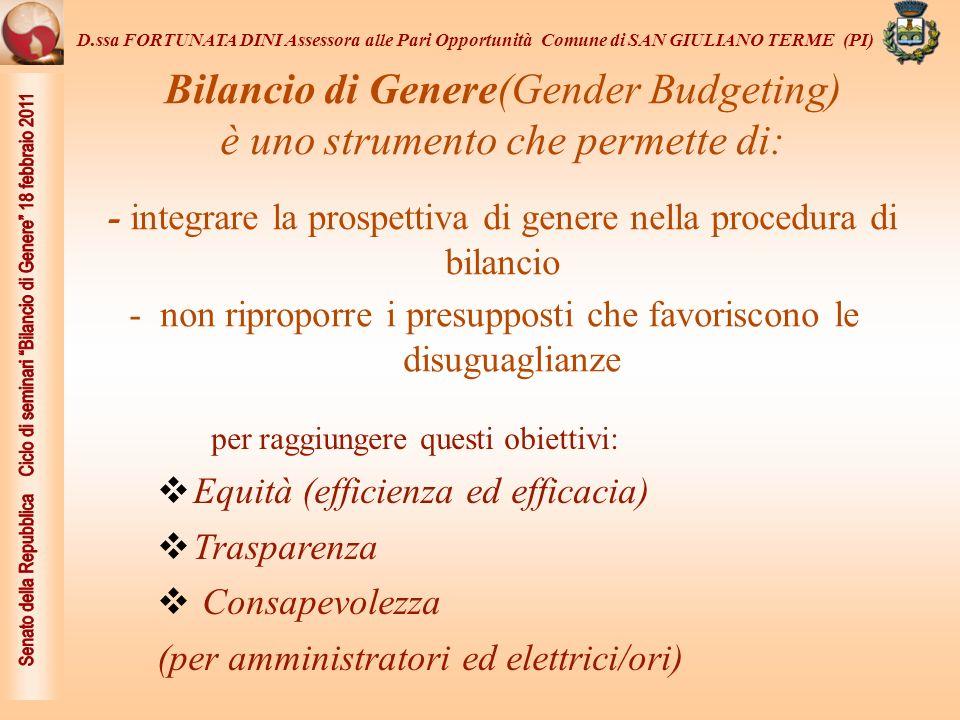 La struttura del BdG si propone di verificare il livello di attuazione dei tre principi: Equità, efficienza ed efficacia rispetto a due quesiti: 1- Quali sono i bisogni delle/dei cittadine/i.