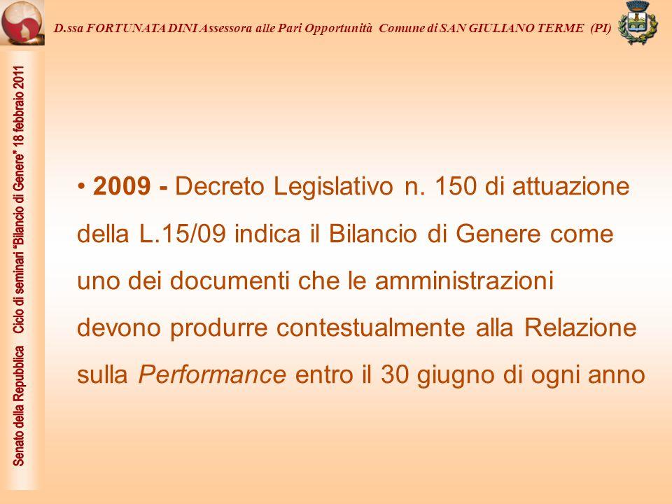 ...nella Regione Toscana L.R.16/2009 sulla Cittadinanza di genere nell art.