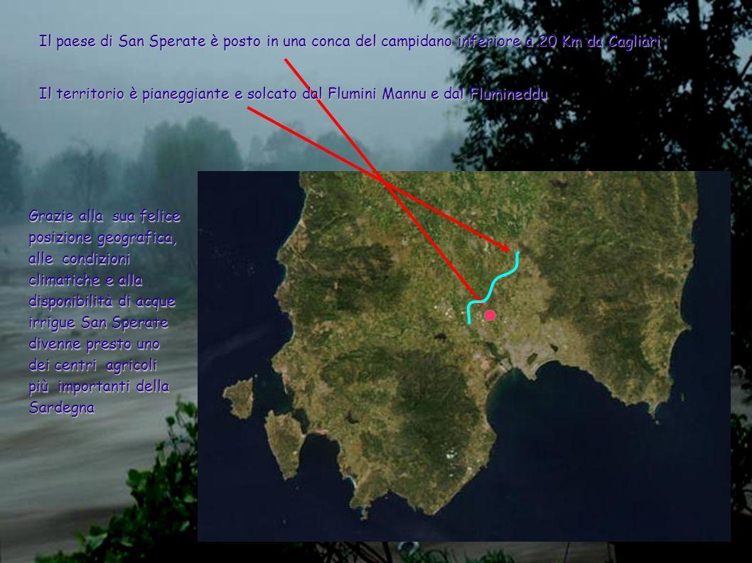 Il paese di San Sperate è posto in una conca del campidano inferiore a 20 Km da Cagliari Il territorio è pianeggiante e solcato dal Flumini Mannu e da