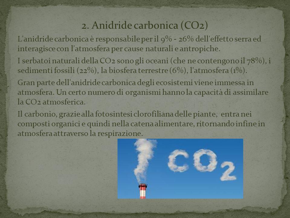 2. Anidride carbonica (CO2) L'anidride carbonica è responsabile per il 9% - 26% dell'effetto serra ed interagisce con l'atmosfera per cause naturali e